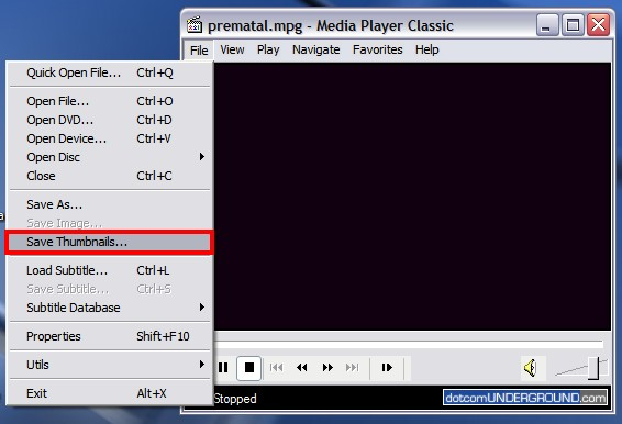Media Player Classic - Save Thumbnails