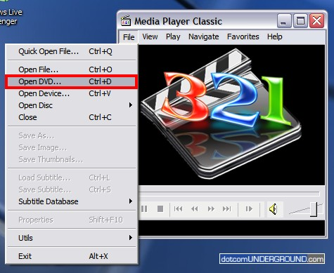 Media Player Classic - Open DVD
