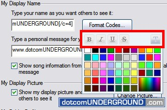 Windows Live Messenger - Faded Format Codes