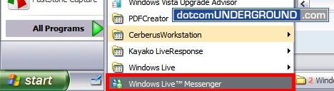 Windows Live Messenger 8.5 - Start from program menu