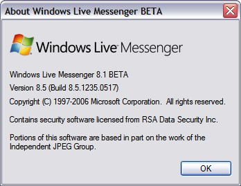 Windows Live Messenger 8.5 - Version Info