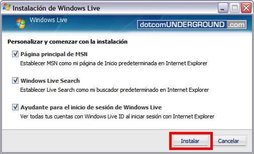 Windows Live Messenger 8.5 - Install Button