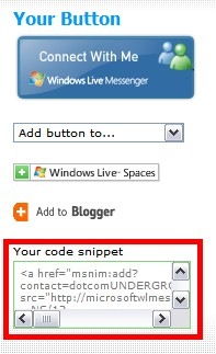 MSN Messenger Button Code