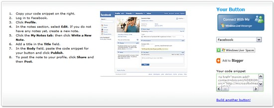 MSN Button on Facebook