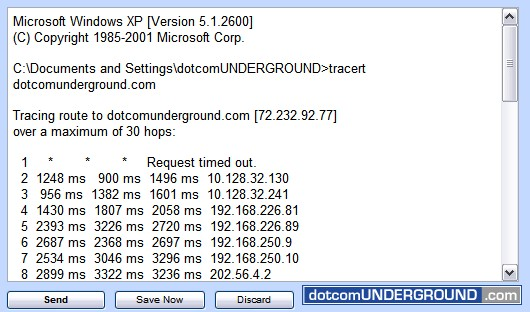 Traceroute from Windows: Email Traceroute Result