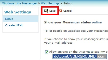 Web MSN - Save Button