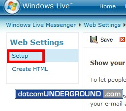 Web MSN - Setup Menu