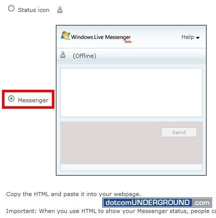 Web MSN Messenger - Messenger Option