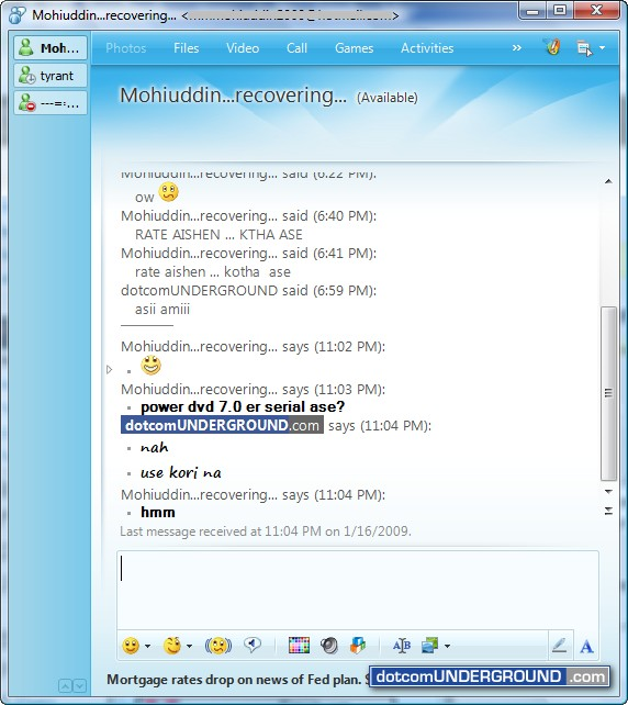Tabbed chat on MSN Messenger 2009
