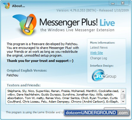 Windows Live Messenger Plus! for Windows Live Messenger 2009