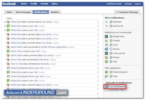 Facebook Notifications RSS Feed
