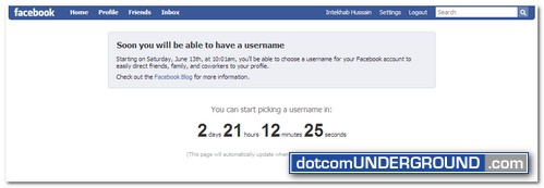 Facebook - Choose username countdown