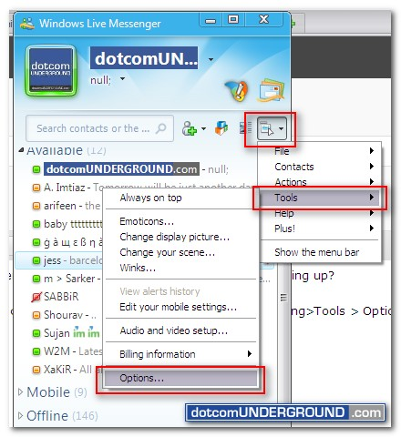 MSN Messenger Emoticon Fix - Tools - Options