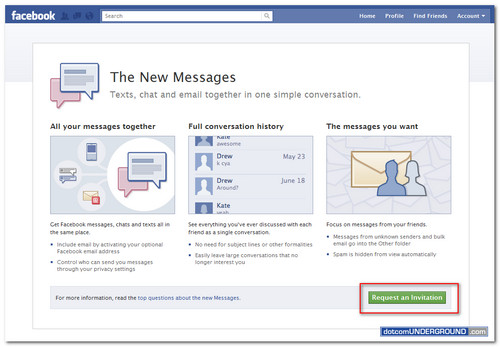 Facebook New Message Invitation